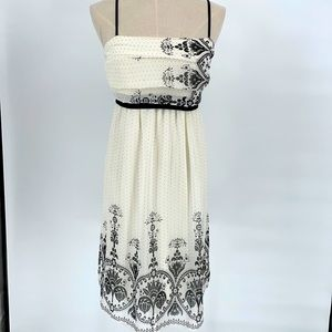 Retro Doll polka dot black white tie waist dress